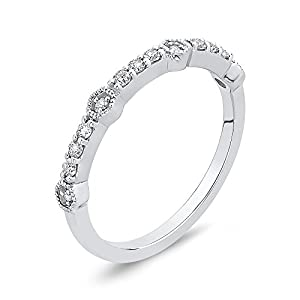 Diamond Fashion Ring in 10K White Gold (1/6 cttw, Colour IJ, Clarity I1) (Size-7.5)