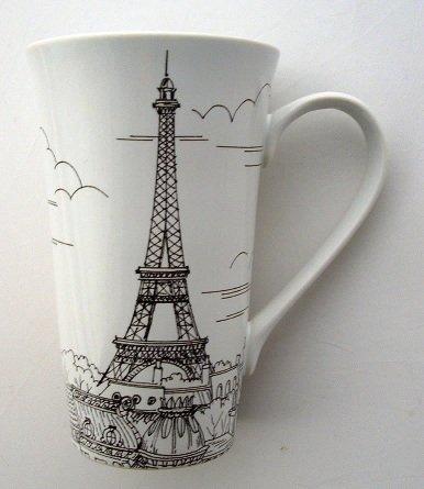 Dreamy Paris Eiffel Tower Tall Latte Fine China Mug (Eiffel Tower Dvd Tower)