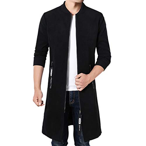 (Mens Winter Tops,Cinsanong Sale! Casual Fashion Solid Coat Tailcoat Gothic Woolen Stand Collar Party Outwear Jackets)