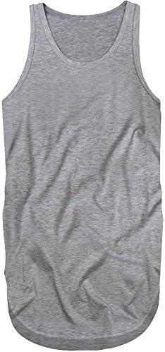 f254[スワンユニオン] swanunion メンズ タンクトップ 無地 グレー 灰色 スリム タイト インナー ロング丈