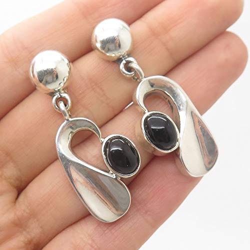 VTG Mexico Sterling Silver Real Black Onyx Gemstone Modernist Earrings