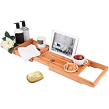 Pristine Bamboo Bathtub Caddy Tray - Packed with 12 Features | Over The Tub Organizer| Bathtub Tray with Wine Glass Holder, Book Holder, iPad Stand | Expandable Bathtub Caddy Organizer Wooden Shelf
