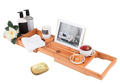 - Pristine Bamboo Bathtub Caddy Tray - Packed with 12 Features | Over The Tub Organizer| Bathtub Tray with Wine Glass Holder, Book Holder, iPad Stand | Expandable Bathtub Caddy Organizer Wooden Shelf