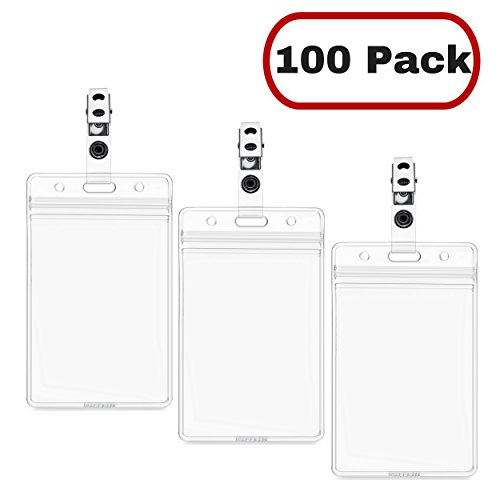 MIFFLIN Vertical Plastic Card Holder with Clip, ID Badge Holder with Clip (Clear, 2.25x3.5 inch, 100 Pack)