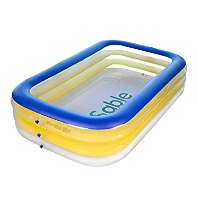Inflatable Swimming Pool, Sable Giant Family Swim Rectangular Pool for Ages 3+