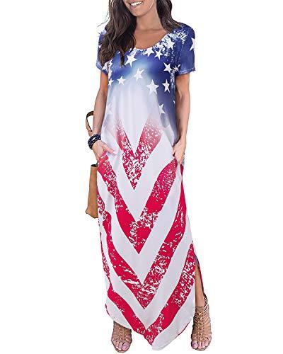 - Aliling Amrecian Flag Dress for Women, Women's Scoop Neck Short Sleeve Casual Pocket Long Dress Side Split Beach Maxi Dresses (S, USA Flag)