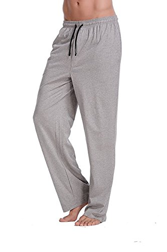 CYZ Men's 100% Cotton Jersey Knit Pajama Pants/Lounge Pants-Greymelange-S - Cotton Knit Pjs