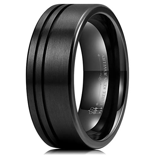 Three Keys Jewelry Mens 8mm Black Zirconium Wedding Band Textured Brushed with 2 Offset Slices Classic Engagement Ring Size 7.5 by Three Keys Jewelry