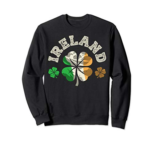 Irish Ireland Flag Sweatshirt St Patricks Day Women Shamrock