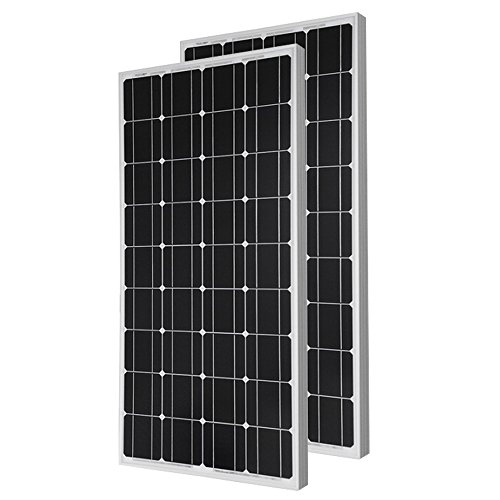 HQST 2 Pieces of 100 Watt 12 Volt Monocrystalline Solar Panel