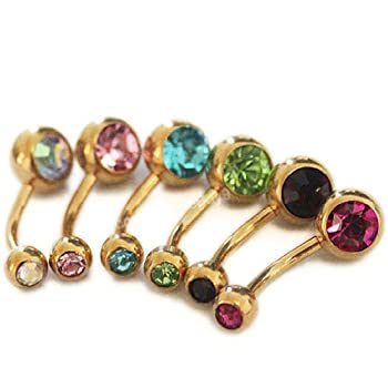 6 Pcs Gold Lot Curved Belly Button Navel Ring Piercing