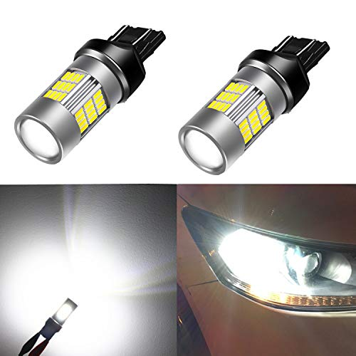 Alla Lighting T20 7440 7443 LED Back-Up Light Bulbs Super Bright 4014 54-SMD T20 W21W 7443 7440 LED Bulb 6000K Xenon White 7440 LED Lights Bulbs for Back-up Reverse Light Lamps Replacement (Set of 2)
