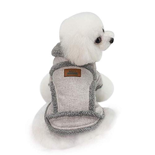 IF.HLMF Pet Dog Clothes, Fashion Cotton Cashmere Jackets Style, Warm and Thick (Especially Suitable for Toy Breeds, Toy Poodles, Mini Doberman, Shih Tzu, Chihuahua, Puppy),LightGray,XL ()