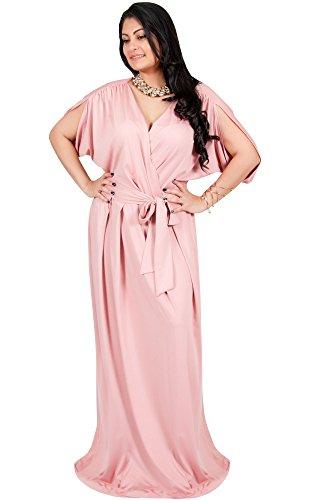 6fd0e4804d3 Adelyn   Vivian Plus Size Womens Long Short Sleeve V-Neck Flowy Gown Maxi  Dress