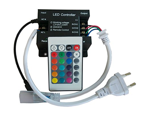 JOYLIT AC110-220V 24 Keys IR Remote Controller 900W for RGB LED Strip lights (220 Four Light)