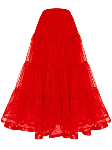 Shimaly Women's Floor Length Wedding Petticoat Long Underskirt for Formal Dress (S-M, (Petticoat Dress Red)