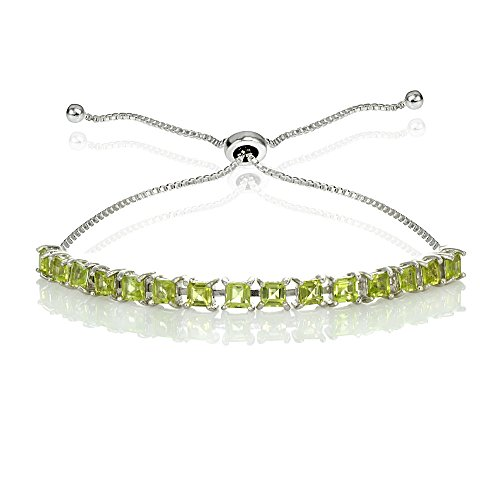 GemStar USA Sterling Silver Genuine, Created, or Simulated Princess-cut 3mm Adjustable Bolo Pull-string Tennis Bracelet