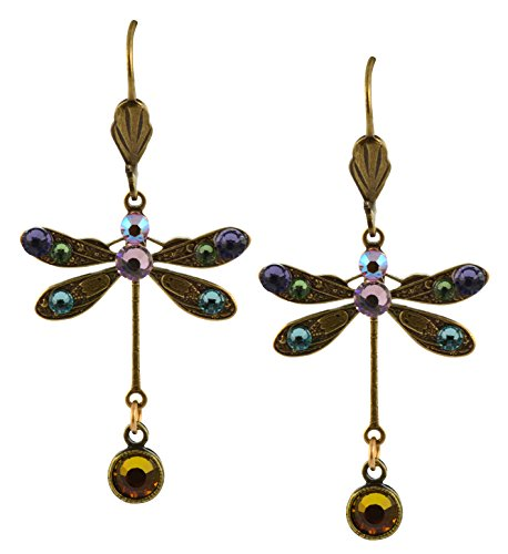 - Anne Koplik Dragonfly Earrings, Pink/Purple Gold Plated Dangle with Jeweled Drop