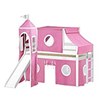JACKPOT! Princess Low Loft Bed with Slide Pink & White Tent and Tower