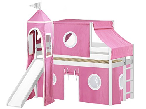 JACKPOT! Princess Low Loft Bed with Slide Pink & White Tent and Tower, Loft Bed, Twin, White