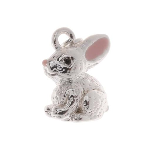 (Delight Beads Silver Plated With Enamel 3-D Bunny Rabbit Charm 15mm (1))