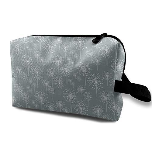 With Wristlet Cosmetic Bags White Snowflake Dandelions Pattern Travel Portable Makeup Bag Zipper Wallet Hangbag ()