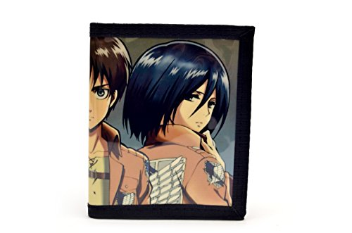 black Leather Levi Ackerman PU on Titan Attack Eren Wallet Jaeger black Mikasa UwpxHg
