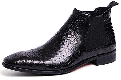 RAINSTAR Men's Crocodile Grain Chelsea Boot Casual Dress Slip On Ankle Boots Black 9 by RAINSTAR
