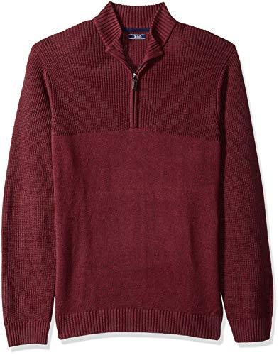 IZOD Men's Newport Marled Quarter Zip 7 Gauge Textured Sweater, New Biking red, Large