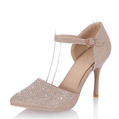 AIURBAG High Heels-Hochzeit Kleid Party & Festivität-maßgeschneiderte Werkstoffe Glanz-Stöckelabsatz-Club-Schuhe D'Orsay und Zweiteiler-Silber