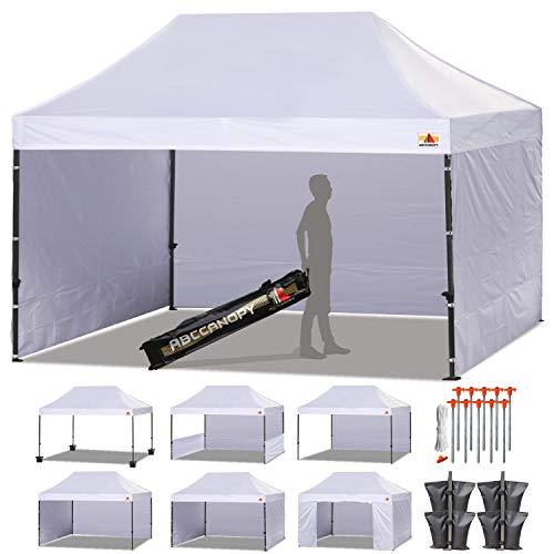 ABCCANOPY (18+ Colors Deluxe 10x15 Pop up Canopy Outdoor Party Tent Commercial Gazebo with Enclosure Walls and Wheeled Carry Bag Bonus 4X Weight Bag and 2X Half Walls (White)