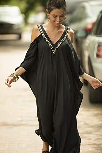 Black and Gold Kaftan Evening Dress, Oversize Open Back Cold Shoulder Embroidered Long Dress
