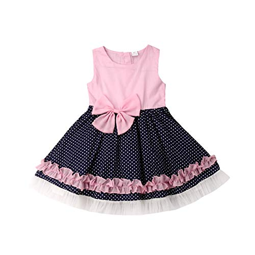 (Baby Girls Sleeveless Lace Spliced Princess Dress Polka Dots Bowknot Party Tutu Dress Pink (Pink, 6-12 Months))