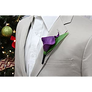 Angel Isabella Boutonniere-Real Touch Purple hand-made keepsake boutonniere Pearl Headed Pin included (Black Ribbon wrapped) 106