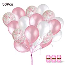 Pink Confetti Balloons,50 Pack 12-Inch Balloons with Confetti Pink and White Party Balloons Pink Ribbon Great for Birthday Party, Engagement, Wedding, Bridal Shower, Baby ShowerDecoration