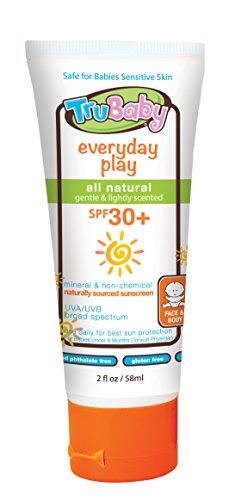 - TruBaby Everyday Play SPF 30+ UVA/UVB Sunscreen Lotion, Mineral Based, Safe for Face and Body 2 oz