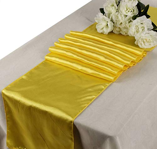 mds Pack of 10 Wedding 12 x 108 inch Satin Table Runner for Wedding Banquet Decoration- Yellow (Yellow Runners)