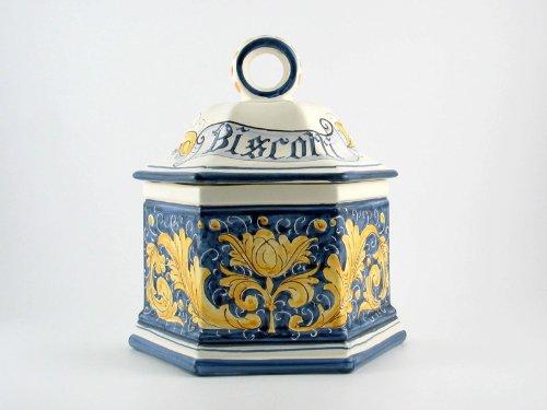 Hand Painted Italian Ceramic 10-inch Biscotti Cookie Jar Rinascimento Blu e Giallo - Handmade in Gubbio, Italy by Ceramiche Rampini