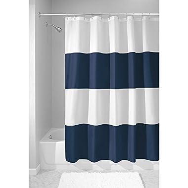 InterDesign Mildew-Free Water-Repellent Zeno Shower Curtain, 72 by 72 , Navy/White