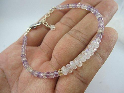 (Ametrine Bracelet,Rainbow Moonstone bracelet,925 Sterling Silver chain extender 1 inch,June Birthstone Bracelet, Size - 6.5,7,7.5,8,8.5)