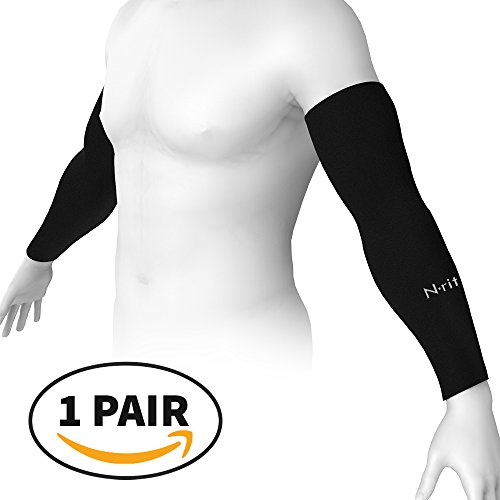 N-rit Compression Cooling Arm Sleeves for Men and Women, UV Sun Protection, Ideal for all Sports and Activities