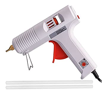 DEDSO Adjustable Temperature 110w Professional Hot Melt Adhesive Glue Gun with 2 Piece Glue Sticks (White)