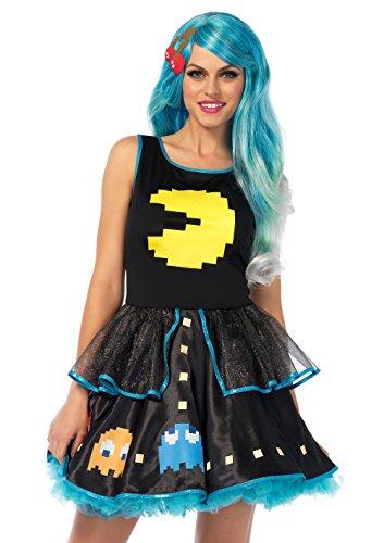 Pac Man Game Dress Woman Halloween Costume, Multicolor, Women MD (Pac Man Halloween Costume)