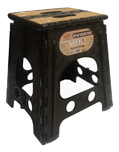 Plastic Folding Step Stool Extra Strong Fishing Decorating DIY Home Kitchen - Medium & Large (Medium, Dark Brown & Cream)