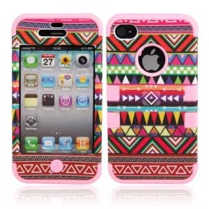 Triangle Pattern Protective Silicone Hard Case for iPhone 4/4S Red + Pink