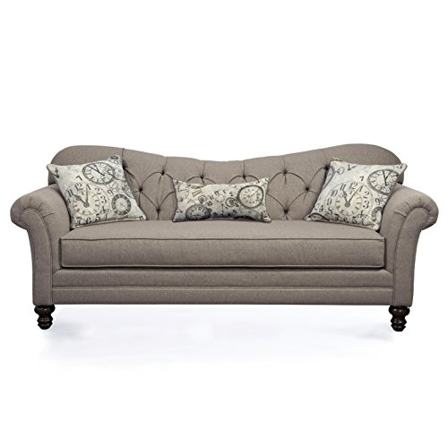 Roundhill Furniture Metropolitan Taupe Fabric Upholstery Wood Frame Sofa with Loveseat and Pillows