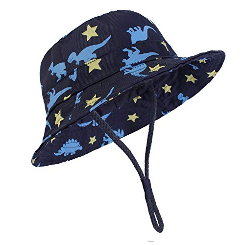 "Durio Baby Boy Hats Sun Protection Baby Boy Sun Hat UPF 50+ Summer Toddler Bucket Hats Baby Girl Infant Kids Gifts Navy Dinosaur 19.7""(50cm)/12-24 Months"