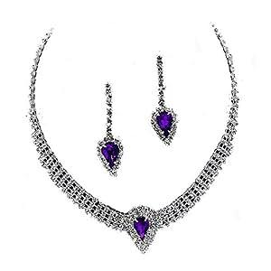 Con brillantes de transparente con cristales de color morado Gargantilla/juego de collar con colgante en forma - despedidas o/fiestas