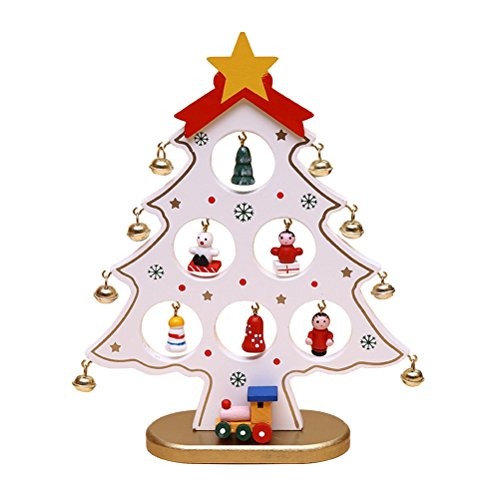 OULII Christmas Wooden Tree Mini Christmas Tree Ornaments Desktop for Kids Gift Home Party Decoration (White) (Trees Christmas Desktop)