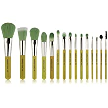 Bdellium Tools Professional Makeup Green Bambu Complete 15 Piece Brush Set with Roll, Up Pouch, 1 Count